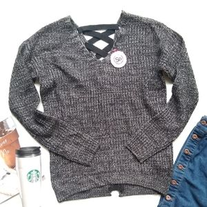 SO • lace-up back charcoal knit V-neck Sweater